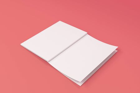 paperback: Mockup of blank white open brochure lying with cover upside on red background. Magazine cover template. 3D rendering illustration