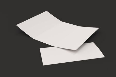 sheet of paper: Blank white open three fold brochure mockup on black background. Open and closed leaflet or booklet template. 3D rendering illustration