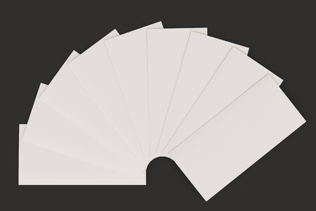 sheet of paper: Blank white three fold brochure mockup on black background. Leaflet or booklet template. 3D rendering illustration Stock Photo