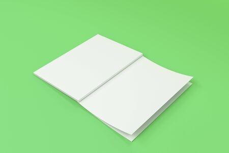 catalog: Mockup of blank white open brochure lying with cover upside on green background. Magazine cover template. 3D rendering illustration