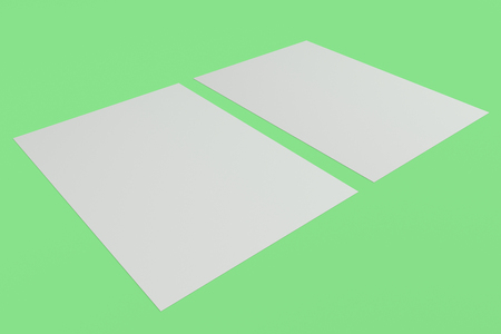 paperback: Two blank white flyers mockup on green background. Poster or paper sheet template. 3D rendering illustration
