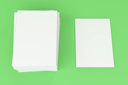 magazine stack: Stack of blank white closed brochure mock-up on green background. Magazine cover template. 3D rendering illustration