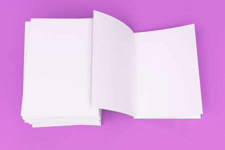 paperback: Stack of blank white closed and one open brochure mock-up on violet background. Magazine cover template. 3D rendering illustration