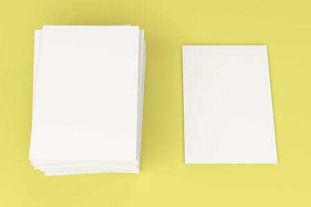 magazine stack: Stack of blank white closed brochure mock-up on yellow background. Magazine cover template. 3D rendering illustration