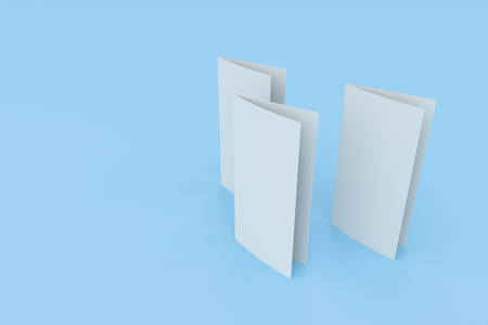 blank white two fold brochure mockup on blue background clean