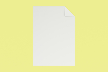 paper sheet: Blank white with a curved corner mockup on yellow background. Poster or sheet of paper template. 3D rendering illustration