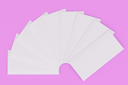 Blank bianco tre mockup di brochure mockup su sfondo viola. modello di opuscolo o poster opuscolo . 3D rendering illustrazione Archivio Fotografico - 82948172