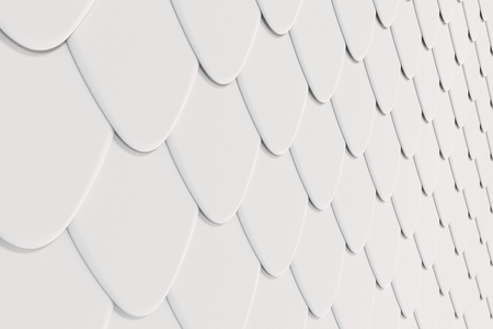 Pattern of white rounded roof tiles. Abstract shingles background. 3D rendering illustration
