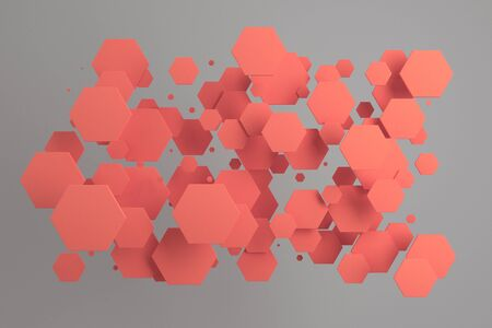 Red hexagons of random size on white background. Abstract background with hexagons. Cloud of hexagons in front of wall. 3D rendering illustration Stock Photo