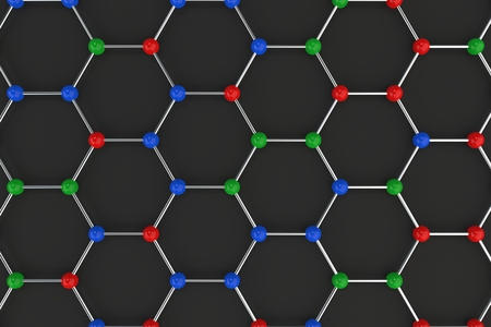 Graphene atomic structure on black background. Hexagonal colored molecular grid. Concept of carbon structure. Crystal lattice. 3D rendering illustration. Stock Photo