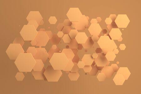 오렌지 배경에 임의의 크기의 오렌지 육각형입니다. 육각형 추상적 인 배경입니다. 벽 앞의 육각형 구름. 3D 렌더링 그림