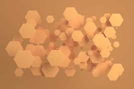 Orange hexagons of random size on orange background. Abstract background with hexagons. Cloud of hexagons in front of wall. 3D rendering illustration