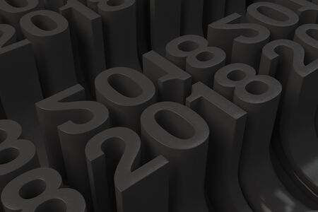 calendar design: Bended 2018 3D numbers. Grid of black New 2018 Year figures. Abstract background. 3D rendering illustration of 2018 number Stock Photo