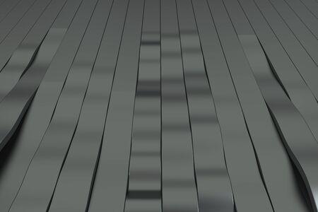 Abstrakte Wiedergabe 3D von schwarzen Sinuswellen. Verbogener Streifenhintergrund. Reflektierendes Oberflächenmuster. 3D übertragen Abbildung Standard-Bild - 86175487