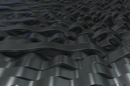 Abstrakte Wiedergabe 3D von schwarzen Sinuswellen. Verbogener Streifenhintergrund. Reflektierendes Oberflächenmuster. 3D übertragen Abbildung Standard-Bild - 86175506