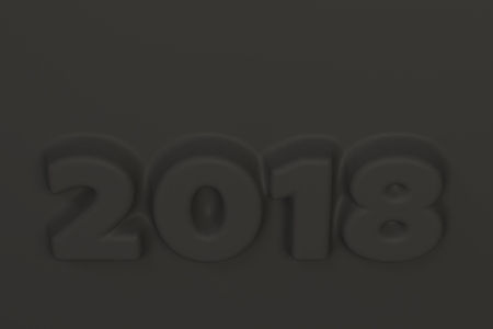 Black 2018 number bas-relief. 2018 new year sign. 3D rendering illustration