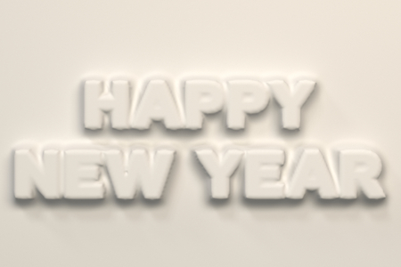 White Happy New Year words bas-relief. New year sign. 3D rendering illustration Stock Photo