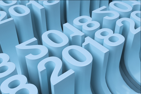 Bended 2018 3D numbers. Grid of blue New 2018 Year figures. Abstract background. 3D rendering illustration of 2018 number Stock Photo