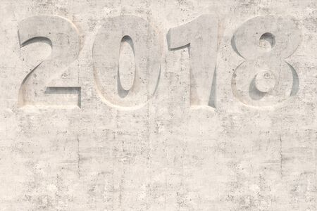 2018 number bas-relief on concrete surface. 2018 new year sign. 3D rendering illustration
