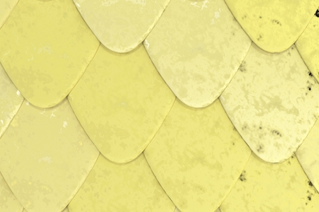 Pattern of yellow rounded roof tiles. Abstract shingles background. 3D rendering illustration