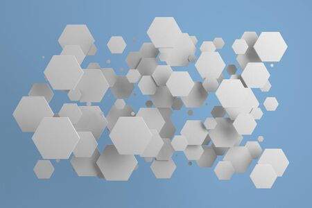 White hexagons of random size on blue background. Abstract background with hexagons. Cloud of hexagons in front of wall. 3D rendering illustration