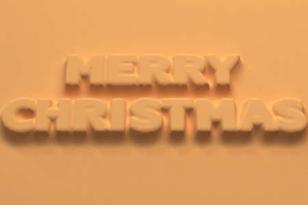 Orange Merry Christmas words bas-relief. Christmas sign. 3D rendering illustration
