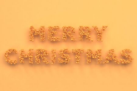 background next: Merry Christmas words from orange balls on orange background. Christmas sign. 3D rendering illustration