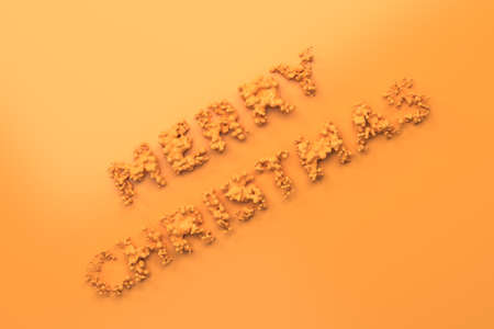Liquid orange Merry Christmas words with drops on orange background. Christmas sign. 3D rendering illustration