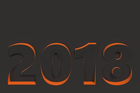 2018 number bas-relief on black surface with orange sides. 2018 new year sign. 3D rendering illustration