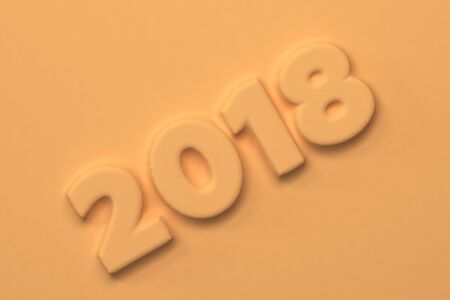 Orange 2018 number bas-relief. 2018 new year sign. 3D rendering illustration Stock Photo