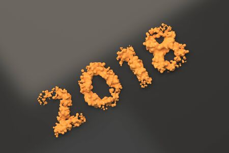 Liquid orange 2018 number with drops on black background. 2018 new year sign. 3D rendering illustration