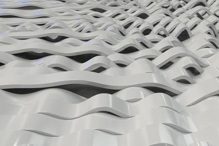 Abstracte 3D-weergave van witte sinusgolven. Gebogen strepen achtergrond. Reflecterend oppervlaktepatroon. 3D render illustratie Stockfoto