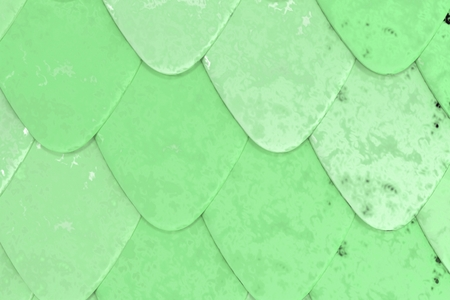 Pattern of green rounded roof tiles. Abstract shingles background. 3D rendering illustration