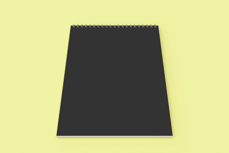 Blank black notebook with metal spiral bound on yellow background. Business or education mockup. 3D rendering illustration