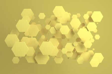 Yellow hexagons of random size on yellow background. Abstract background with hexagons. Cloud of hexagons in front of wall. 3D rendering illustration