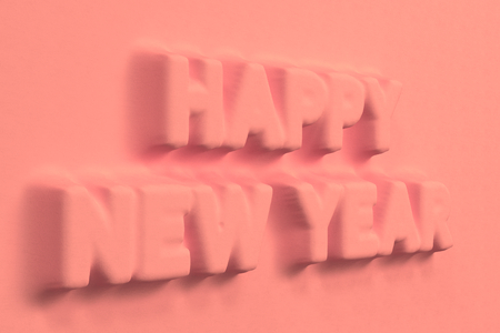 Red Happy New Year words bas-relief. New year sign. 3D rendering illustration Stock Photo