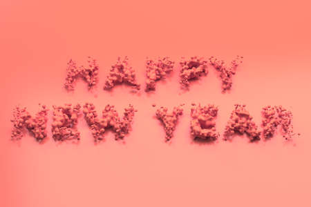 Liquid red Happy New Year words with drops on red background. New year sign. 3D rendering illustration