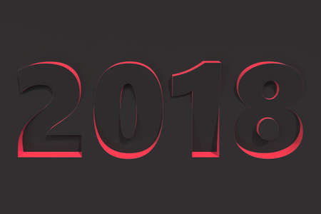 2018 number bas-relief on black surface with red sides. 2018 new year sign. 3D rendering illustration