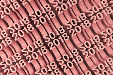 Bended 2018 3D numbers. Grid of red New 2018 Year figures. Abstract background. 3D rendering illustration of 2018 number Stock Photo