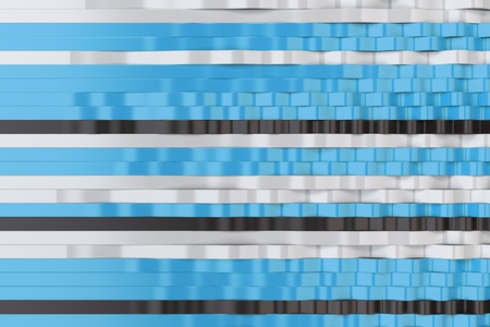 Abstract 3D rendering of black, white and blue sine waves. Bended stripes background. Reflective surface pattern. 3D render illustration Stock Photo