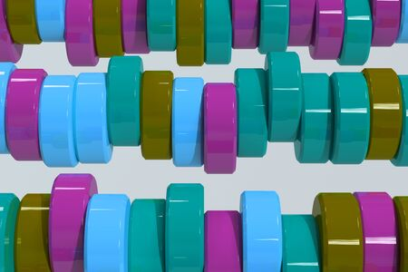 Pattern of blue, violet and green cylinder tablets on white background. Plastic pucks. Abstract background. 3D rendering illustration. Stock Photo