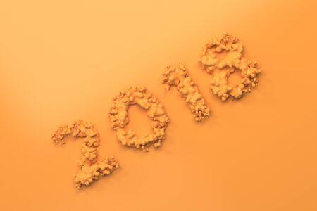 background next: Liquid orange 2018 number with drops on orange background. 2018 new year sign. 3D rendering illustration