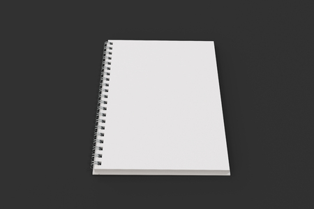 Opend blank notebook with white cover and metal spiral bound on black background. Business or education mockup. 3D rendering illustration