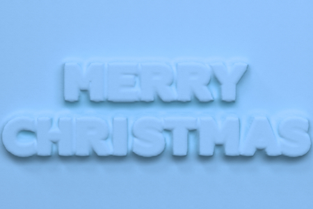 Blue Merry Christmas words bas-relief. Christmas sign. 3D rendering illustration