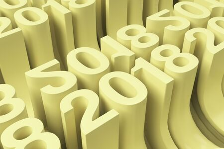Bended 2018 3D numbers. Grid of yellow New 2018 Year figures. Abstract background. 3D rendering illustration of 2018 number
