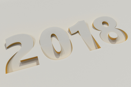 2018 number bas-relief on white surface with yellow sides. 2018 new year sign. 3D rendering illustration Stock Photo