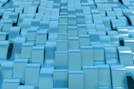 Abstracte 3D-weergave van blauwe sinusgolven. Gebogen strepen achtergrond. Reflecterend oppervlaktepatroon. 3D render illustratie
