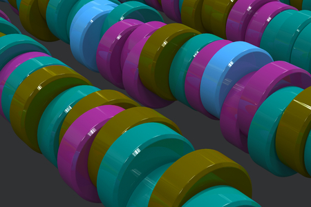Pattern of blue, violet and green cylinder tablets on black background. Plastic pucks. Abstract background. 3D rendering illustration. Stock Photo