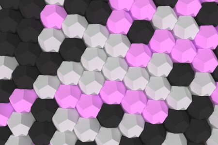 cobble: Pattern of white, violet and black hexagonal elements. Wall of dodecahedrons. Architectural background. 3D rendering illustration