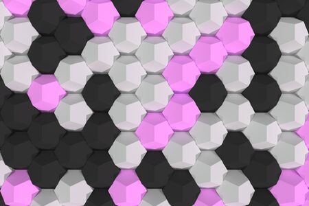 Pattern of white, violet and black hexagonal elements. Wall of dodecahedrons. Architectural background. 3D rendering illustration